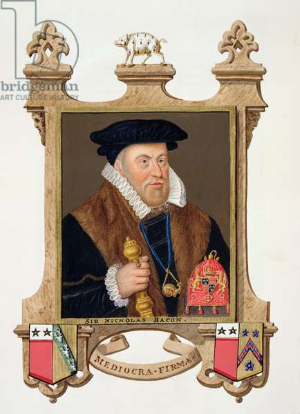 Portrait of Sir Nicholas Bacon (1509-79) from 'Memoirs of the Court of Queen Elizabeth', published in 1825 (w/c and gouache on paper)