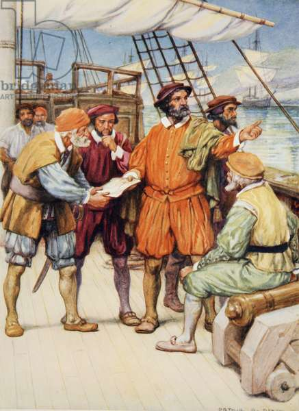 Magellan consults with his navigators (colour litho)