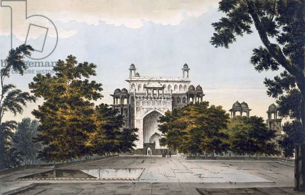 A view of part of the Tomb of the Emperor Akbar at Secundru, 1785-88 (coloured aquatint)