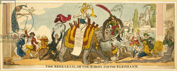 The Rehearsal or the Baron and the Elephant, pub. 1812 (hand coloured engraving)