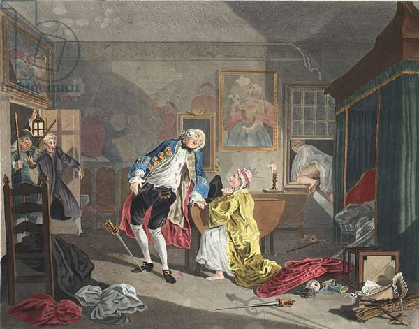 Marriage a la Mode, Plate V, The Bagnio, illustration from 'Hogarth Restored: The Whole Works of the celebrated William Hogarth, re-engraved by Thomas Cook', pub. 1812 (hand-coloured engraving)