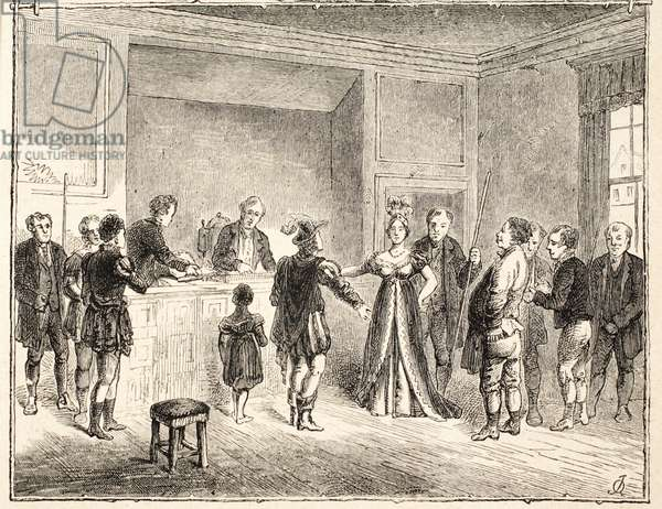 The 'Hand and Shears', A Case before the Court of Pie-Poudre, from a drawing dated 1811 (engraving)