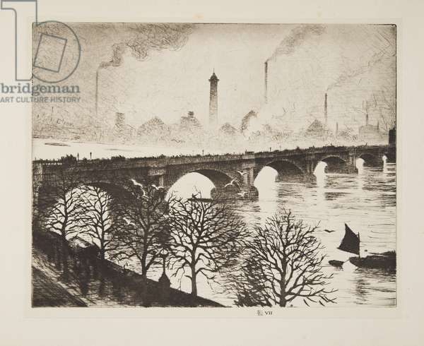 Waterloo Bridge from  a Savoy Window, pub.1925 (etching)