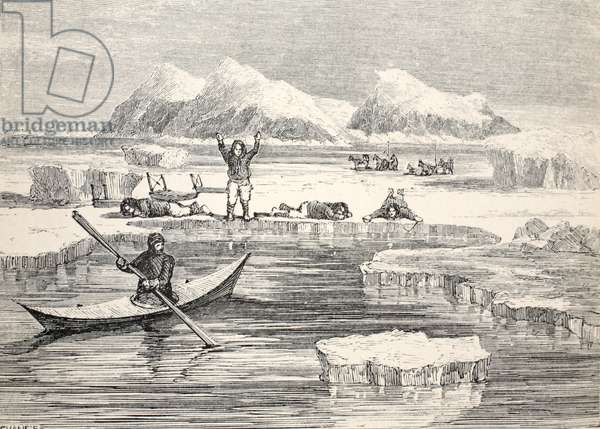 Eskimos imitating animals to induce Europeans to approach, 1859 (litho)