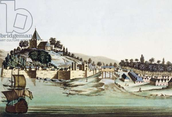 The port and town of Malacca, Malaysia, illustration from 'Le Costume Ancien et Moderne' by Giulio Ferrario, published c.1820s-30s (coloured engraving)