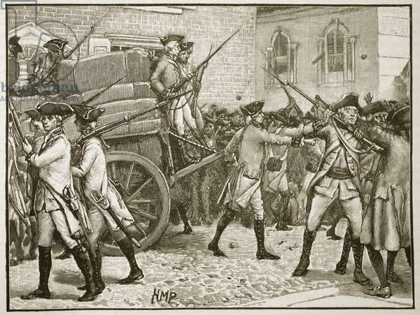 Troops escorting the stamped paper to the City Hall, New York, 1766, illustration from 'Cassell's Illustrated History of England' (engraving) (sepia photo)