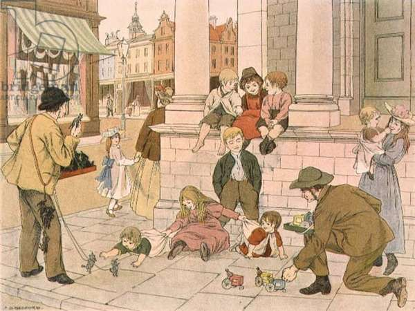 Street Toy Sellers, from 'The Book of Shops', 1899 (colour litho)