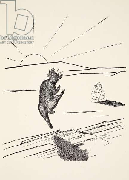 Old Man Kangaroo when he was the Different Animal with four short legs, illustration from 'Just So Stories for Little Children' by Rudyard Kipling, pub. London, 1951 (litho)