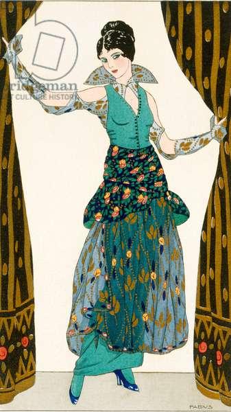 Evening dress of taffeta and painted chiffon, fashion plate from 'Parisian Costumes', 1914 (pochoir print)