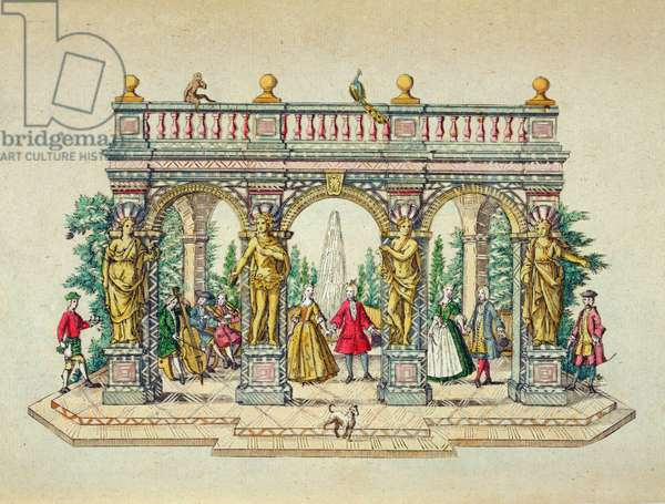 A musical party in an arbour, mid 18th century (coloured engraving)