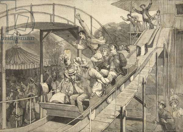 Funfair Accident in the Russian Mountains, Saint-Cloud, from 'Le Petit Parisien', 26th July 1891 (litho)