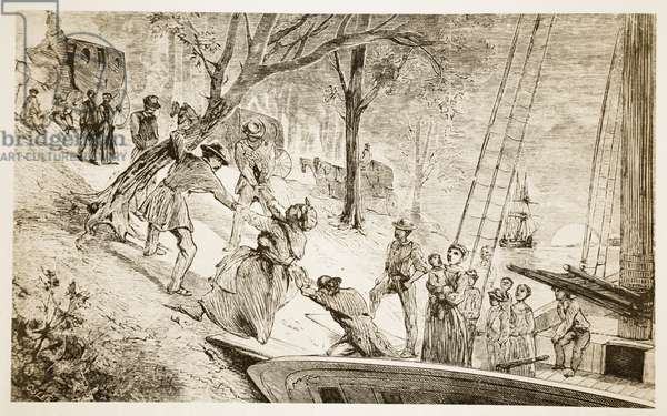 Slaves being offloaded having tried to escape down-river (litho)
