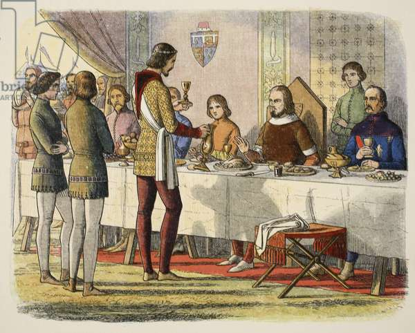 Prince Edward serves John of Artois at table after having defeated him at Poitiers, from A Chronicle of England BC 55 to AD 1485, pub. London, 1863 (colour litho)