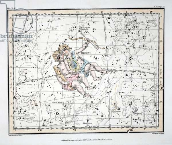 The Constellations (Plate XV) Gemini, from 'A Celestial Atlas' by Alexander Jamieson, pub. London 1822 (hand coloured engraving)