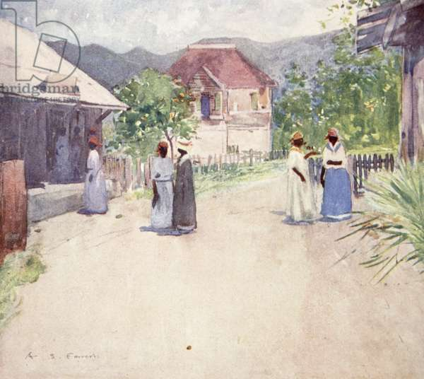 Huts on a Country Road, Jamaica, from a portfolio of privately printed watercolours of 'The West Indies' (colour litho)