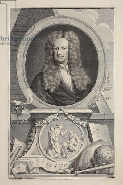Portrait of Isaac Newton, illustration from 'Heads of Illustrious Persons of Great Britain', pub. by Knapton, London 1742 (engraving)
