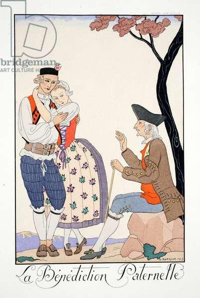 Paternal Blessing, from 'Falbalas & Fanfreluches, Almanach des Modes Présentes, Passées et Futures', 1924 (colour litho)