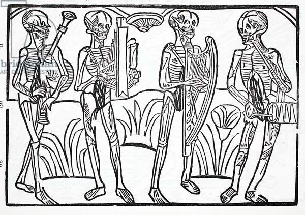 Macabre dance - skeletons of musicians in an orchestra (litho)