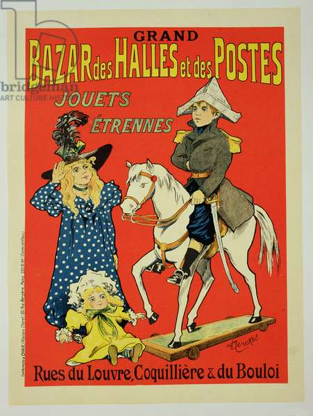 Reproduction of a poster advertising the 'Grand Bazar des Halles et des Postes', Paris, 1899 (colour litho)