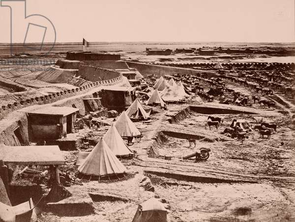 A French Horse Encampment during the China War of 1860 (b/w photo)