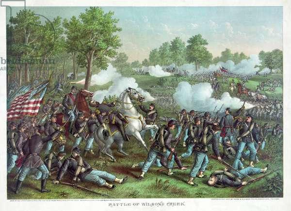 Battle of Wilsons Creek, pub. Kurz & Allison, 1893 (colour litho)