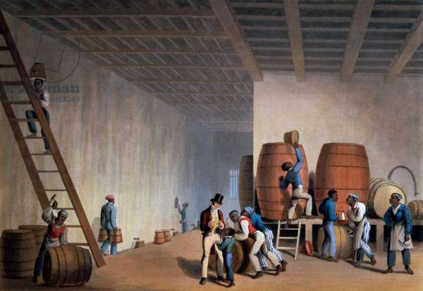 Inside the Distillery, from 'Ten Views in the Island of Antigua', 1823 (hand-coloured litho)