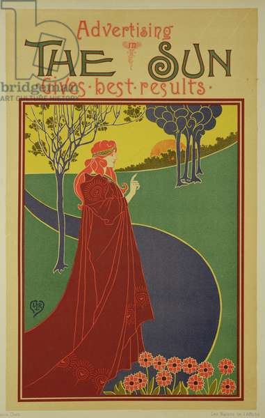 Reproduction of a poster advertising 'The Sun', an American newspaper (colour litho)