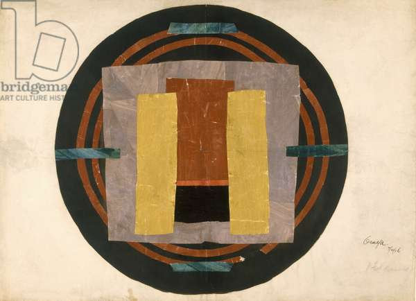 Circular design for a rug, 1916 (w/c & collage on paper)