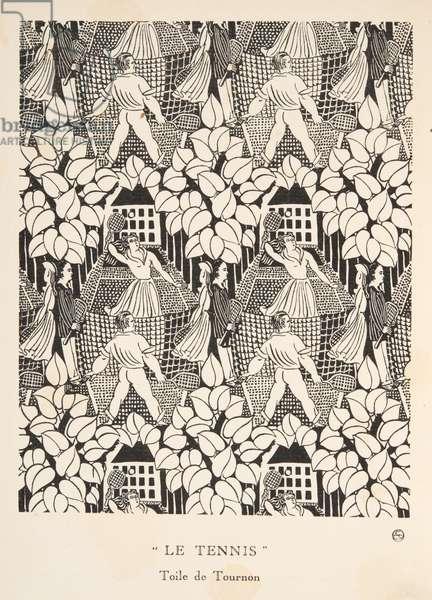 """""""Le Tennis"""", Toile de Tournon, from Gazette de Bon Ton, pub.  1920 (pochoir print)"""