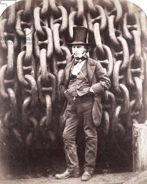 Isambard Kingdom Brunel, standing in front of the launching chains of the 'Great Eastern', 1857 (b/w photo)