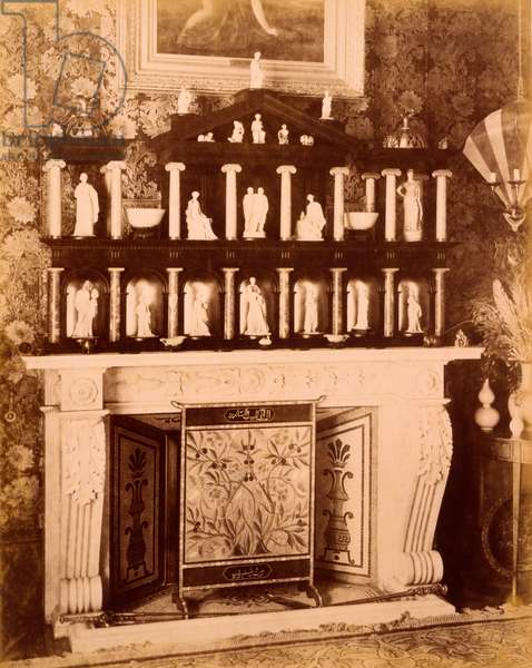 Interior of 1 Holland Park, Fireplace with Tanagra Figures, c.1898 (sepia photo)