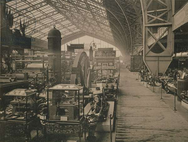 Interior view of the machinery hall, from 'L'Album de l'Exposition 1889' by Glucq, Paris 1889 (litho)
