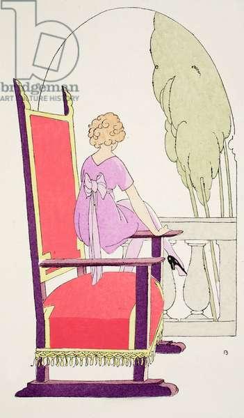 Waiting on the balcony (pochoir print)
