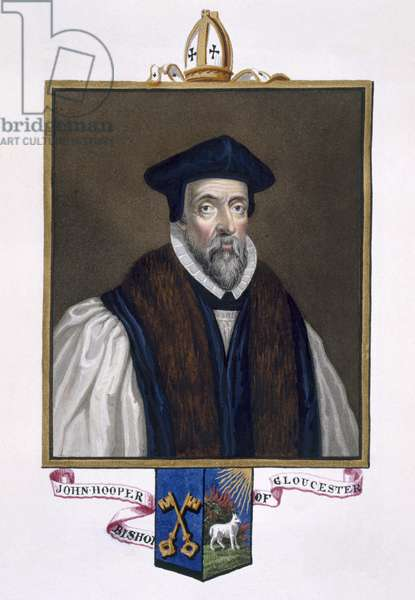 Portrait of John Hooper (d.1555) Bishop of Gloucester from 'Memoirs of the Court of Queen Elizabeth', published in 1825 (w/c and gouache on paper)