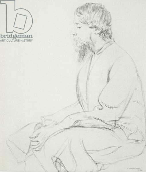 Portrait of Sir Rabindranath Tagore (1861-1941), 1912 (litho)