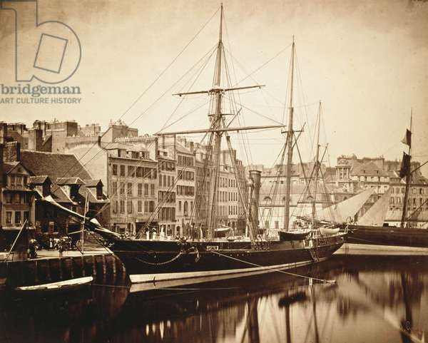 The Imperial Yacht 'La Reine Hortense' at Le Havre, 1856 (sepia photo)