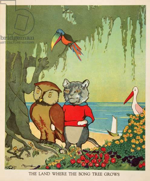 """The land where the Bong Tree grows"", from Peter Rabbit Little Red Hen and Owl and Pussy Cat pub. Charles E Graham & Co. c. 1900 (chromolithograph)"