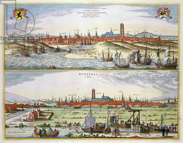 The City of Dunkirk during the Spanish occupation, published in Amsterdam, 1649 (coloured engraving)