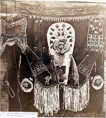 Half-Breed Child in a Cradle with Indian Ornamental Trappings, photographed by the Royal Engineers on the Forty-Ninth Parallel (sepia photo)
