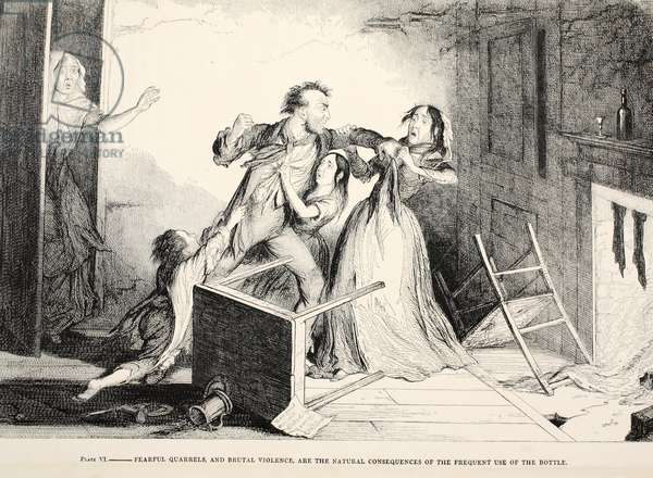 Plate VI, Fearful quarrels and brutal violence, are the natural consequences of the frequent use of the bottle, Plate IV of 'The Drunkard's Children', pub. 1848 (b/w engraving)