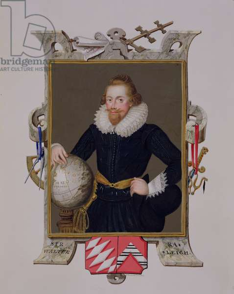 Portrait of Sir Walter Raleigh (c.1552-1618) from 'Memoirs of the Court of Queen Elizabeth', published in 1825 (w/c and gouache on paper)