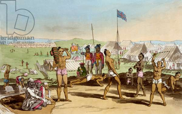 An Ukhara with a view of the British Resident's Camp, from 'The Costume, Character, Manners, Domestic Habits and Religious Ceremonies of the Mahrattas' by T. D. Broughton, etching by Moses, 1813 (colour litho)