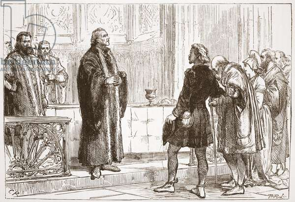 Dr Haller dispensing the Lord's Supper in Bern Cathedral, illustration from 'The History of Protestantism' by James Aitken Wylie (1808-1890), pub. 1878 (engraving)