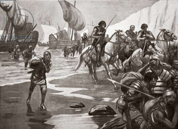 Caesar's Second Landing, 54 BC, illustration from 'Hutchinson's Story of the British Nation', c.1920 (litho)