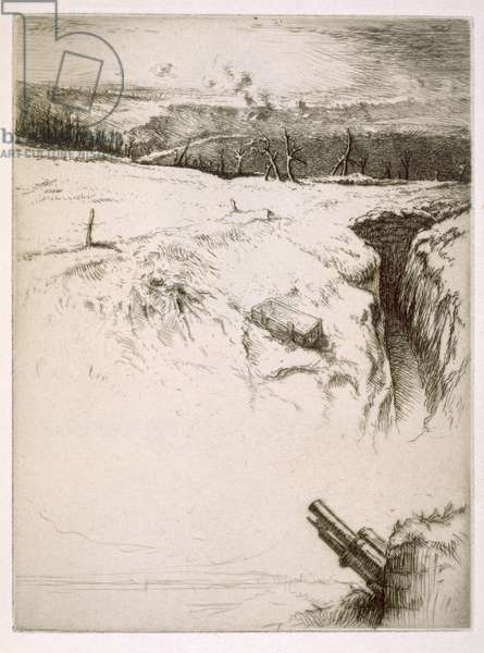 Northern France: abandoned trenches after World War One (etching)