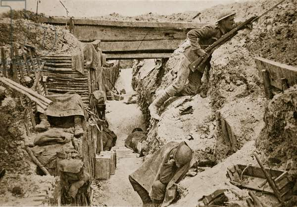 A view of a British trench, Ovillers, 1916 (sepia photo)