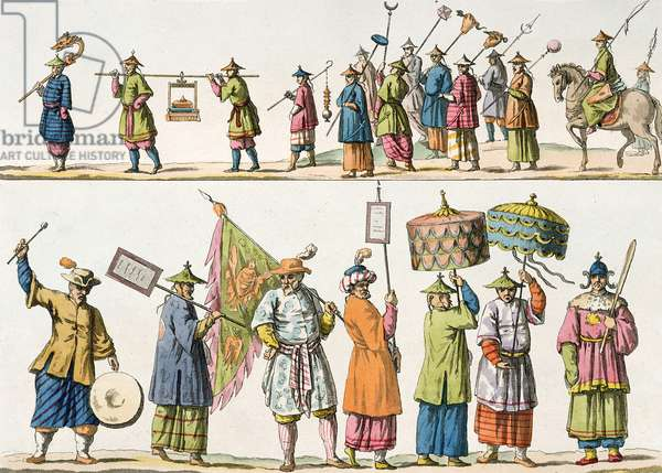 Principal attendants of the Chinese Emperor's procession, illustration from 'Le Costume Ancien et Moderne' by Giulio Ferrario, published c.1820s-30s (coloured engraving)