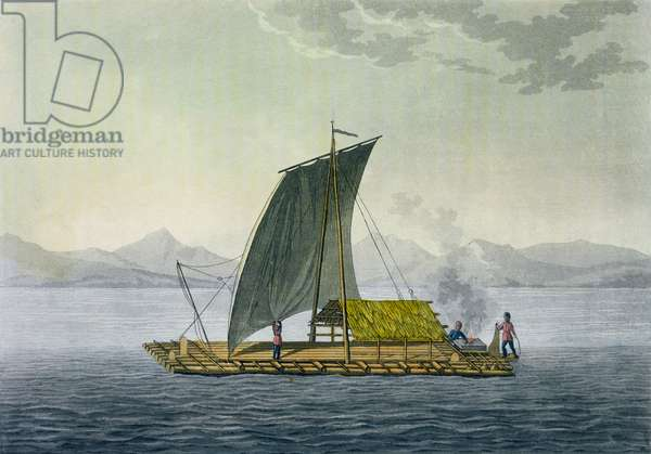 A raft leaving the port of Guayaquil, Ecuador, from 'Le Costume Ancien et Moderne', Volume II, plate 9, by Jules Ferrario, engraved by Paolo Fumagalli, published c.1820s-30s (colour litho)
