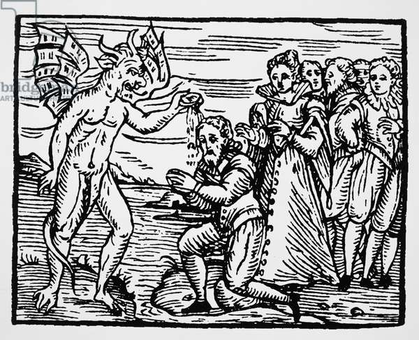 Baptism by the Devil, copy of an illustration from 'Compendium Maleficarum' by Fr M Guaccius, Milan 1608, used in 'History of Magic', published late 19th century (woodcut) (b/w photo)