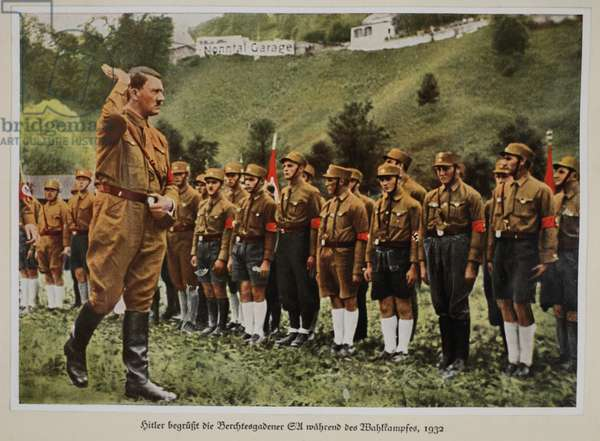 Hitler Welcomes the SA of Berchtesgaden during the Election Campaign, 1932, from 'Germany Awakened' (colour litho)